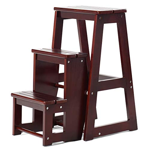 Costzon Folding Step Stool 3 Tier Wood Ladder, 3-in-1 Design with Ladder, Stool and Storage Shelf, Multifunction Pine Wood Foldable Ladder for Home, Library, 300lbs Capacity (Dark nut-Brown)