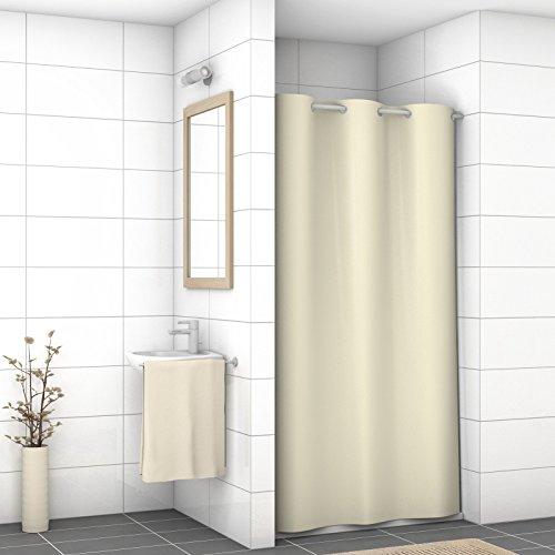 WIDORO Textil-Duschvorhang Exclusive | wasserdichter Stoff | Anti-Schimmel und Anti-Bakteriell | waschbar | schweres Polyester | mit verstärktem Saum & Metallösen | BEIGE | 120 x 200 cm