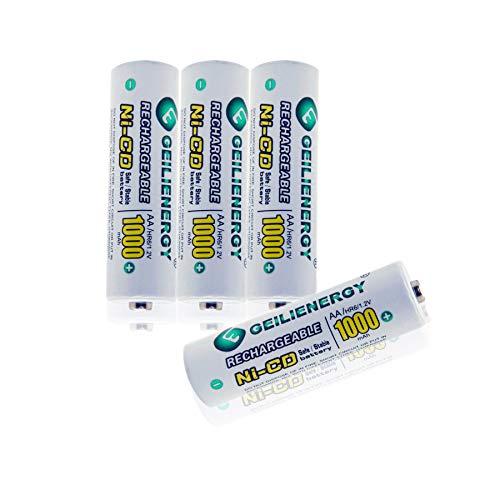GEILIENERGY Solar Light AA Ni-CD 1000mAh Rechargable Batteries,AA Rechargeable Batteries for Solar Lights Solar Lamp(Pack of 4)
