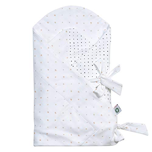 Baby Einschlagdecke GOTS zertifiziert aus BIO-Baumwolle Puckdecke Wickeldecke von Motherhood - Kleckse apricot und schwarz