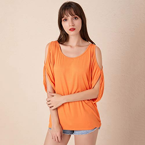 Weiy Women's Cold Shoulder Summer Top,Batwing Sleeve Crew Neck T-Shirt Off Shoulder Blouse,Orange,XL