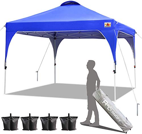 ABCCANOPY Gazebo 3x3 Pop Up Canopy Outdoor Canopies Super Comapct Canopy Portable Tent Popup Beach Canopy Shade Canopy Tent with Wheeled Carry Bag Bonus 4xWeight Bags,4xRopes&4xStakes (3x3, Blue)