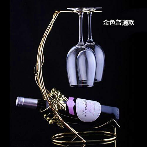 AIMG Soporte de Copa de Vino Colgante Estante de Vino Soporte de Metal Creativo Soporte de exhibición Bar Soporte de Estante de Vino Decoraciones Organizador de Copa de Vino, Dorado