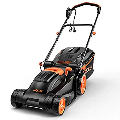 TACKLIFE Electric Lawn Mower, 14-Inch / 10-Amp Lawn Mower, 6 Adjustable Mowing Heights, 3 Operation Heights, Foldable Handlebars, Easy Control, 10.5Gal Grass Box ? KALM12A
