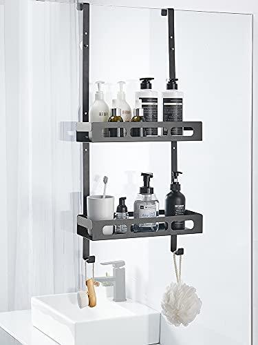 PaNt Estantería de almacenamiento de aluminio para ducha, para uso doméstico, extra grande, 2 almacenes, para colgar el estante de ducha, para champú/gel de ducha (estilo hueco)