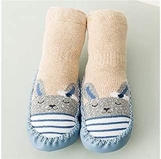 Lovely Socks Children Cotton Socks Kids Autumn and Winter Animals Patterns Anti-Slip Floor Socks Mid Socks (Red) Newborn Sock (Color : Blue, Size : S)