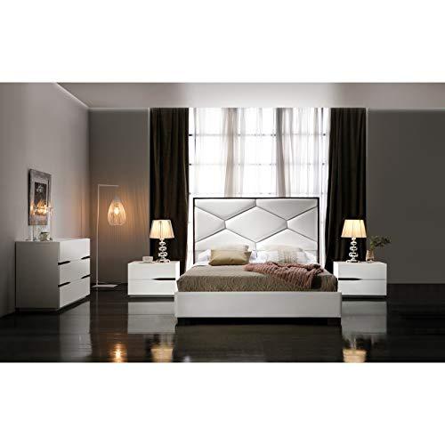 Bedkast met lattenbodem, 180 x 200 cm, kunstleer, beige, Edouard – L 200 x B 180 x H 130 cm
