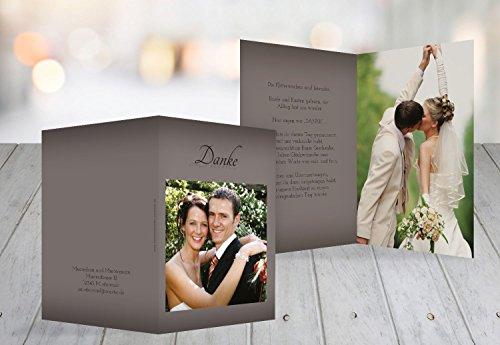 Kartenparadies Danksagung für Hochzeitsgeschenke Hochzeit Danke 3 Liebesmoment, hochwertige Danksagungskarte Hochzeitsglückwünsche inklusive Umschläge | 20 Karten - (Format: 105x148 mm) Farbe: DunkelgrauBraun