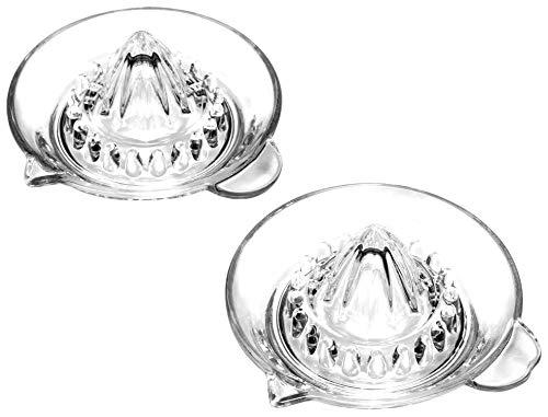 COM-FOUR® 2x Zitrus-Presse - Zitronen-Presse aus Glas mit Ausgießer - ideal zum Entsaften von Zitrusfrüchten, wie Zitronen, Orangen und Mandarinen (02 Stück - Zitruspresse Glas)