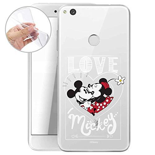 FINOO Funda para teléfono móvil – Compatible con Huawei P8 Lite 2017 – TPU Silicona Bumper – Transparente, Ultrafina y Ligera – Mickey Mouse Love