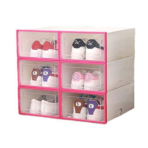 lijun Caja de plástico para Zapatos de 6 uds, Caja de Almacenamiento de cajón Organizador de Zapatos Plegable apilable con Tapa abatible, Puerta Transparente para Hombres y Mujeres 34x24x14cm