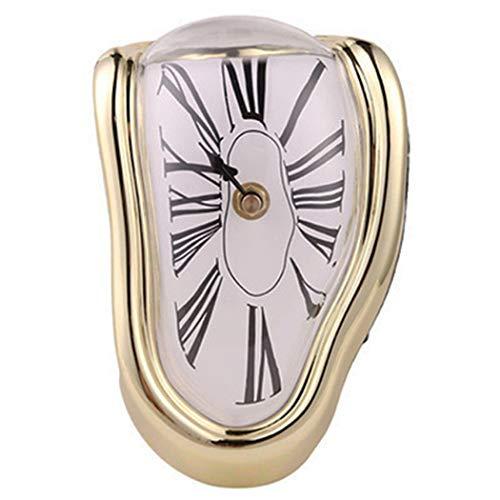 SXSHYUJE Schmelzende Uhr Im Dali-Stil Schmelzende Kaminuhr Mit Silberfarbenem Rahmen, Dekorative Dali Schmelzende Uhr Surrealismus Uhren Salvador Dali, Golden