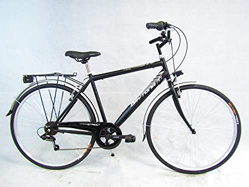 bicicletta uomo bici da passeggio city bike trekking 28 shimano 6 velocita' (nero) Daytona