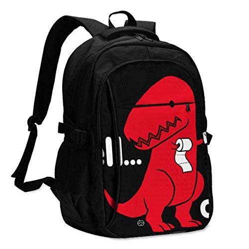 Travel Laptop Backpack, T Rex Dinosaur Travel Laptop Backpack College School Bag Casual Daypack with USB Charging Port