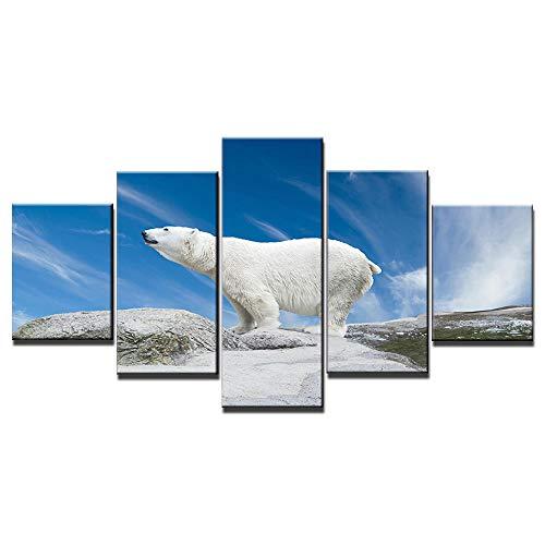 Lienzos Decorativos-Oso polar-decoración de la Imagen óleo para el hogar decoración Moderna impresión 5 Cuadros de Madera para Pared30x40cmx2+30x60cmx2+30x80cmx1