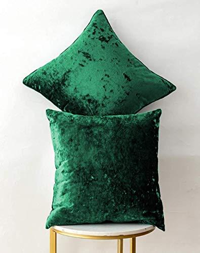 2 Piezas de Terciopelo de Hielo Blush Pink Rectangular Fundas de cojín para sofá Sofá Silla Fundas de Cojines Decorativos Fundas de Almohada para Sala de Estar Cama Coche-40x40 cm_Verde