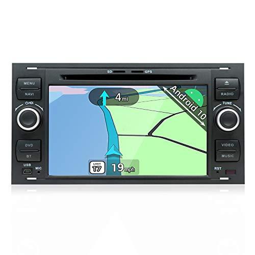 YUNTX Android 10 Autoradio Compatibile con Ford Focus/Fiesta/Kuga/C-Max/Fusion - GPS 2 Din - Telecamera Posteriore Gratuiti - 7 Pollice - Supporto DAB/Controllo del volante/WiFi/Bluetooth/Mirrorlink