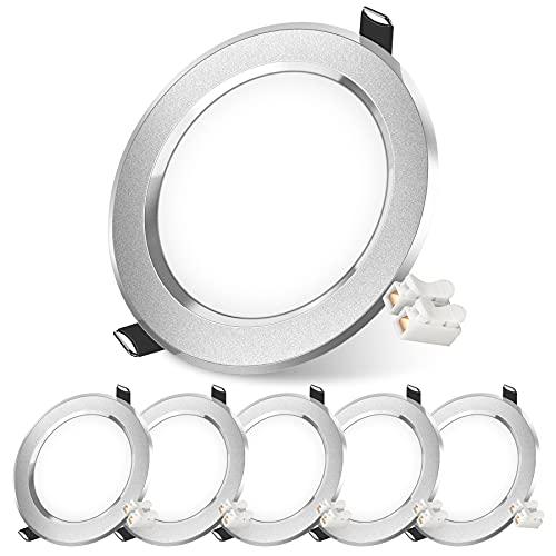 Gxfcyffs LED Einbaustrahler,6er Set Ultra flache LED Einbauleuchten-Kaltweiß [7W/665lm/6500K/230V] for Motorhome, Zeichensaal, Küche (Mattes Silber)