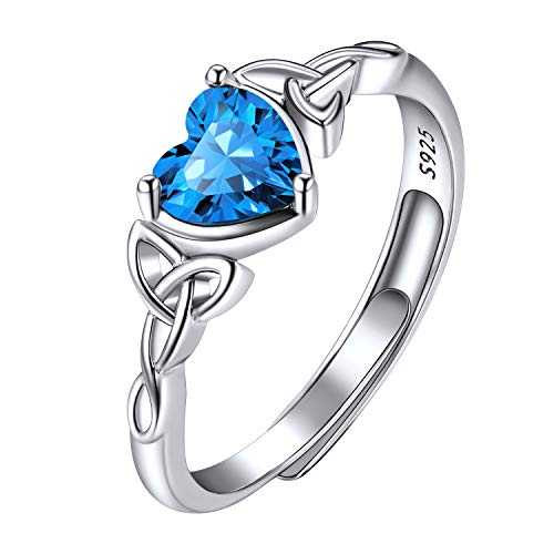 December Birthstone Rings Adjustable, Heart Shaped Blue Topaz Gemstone Ring, Engagement Wedding Ring Bands, 925 Sterling Silver Triquetra Celtic Trinity Knot Heart Ring for Her