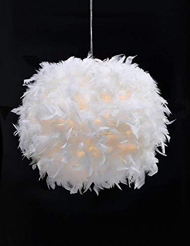 MX kingdom Weiße Feder Decken Hängeleuchte Lampenschirm Nicht-elektrischer Lampenschirm mit Schatten Reduzierring für Bodenlampe und Tischlampe für Wohnzimmer, Esszimmer, Schlafzimmer, 30cm