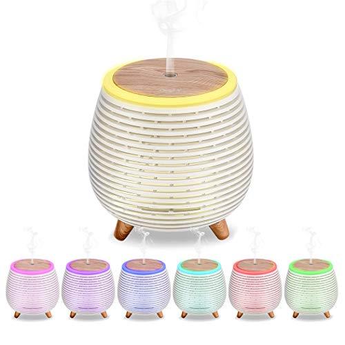 CkeyiN Aroma Diffusor, Mini Ätherisches Öl Zerstäubung Luftbefeuchter Mit einstellbarem Nebelmodus,Wasserlose automatische Abschaltung Diffuser Mit 7 Farbwechsel LED Nachtlichter