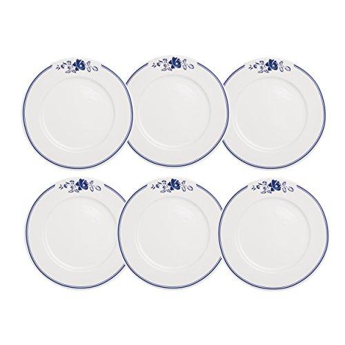 Depot d'argonne Rose Motif 6 Assiettes Plates, en CÉRAMIQUE, Bleu, 27 x 27 x 2.5 cm