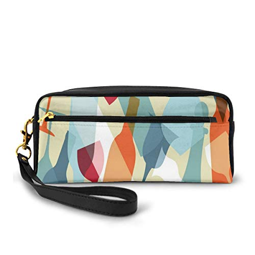 Pencil Case Pen Bag Pouch Stationary,Modern Design Colorful Silhouettes of Glasses Bottles Fun Party Artistic,Small Makeup Bag Coin Purse