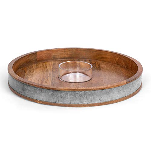 BIRDROCK HOME Wooden and Iron Chip and Dip Serving Tray- Glass Dip Bowl - Salsa Appetizer Serveware - Veggie, Shrimp, Guacamole, Cheese, Chips, or Pita Tray - Party Platter - Extra Large
