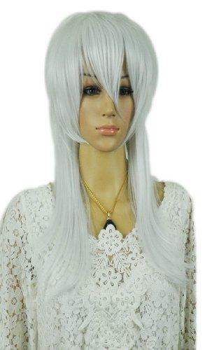 Qiyun Moyen Longue Argent Blanc Raide Spiky Anime Cosplay Mixte Complete Cheveux Perruque