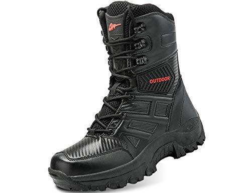 IYVW 5.AA L203 Botas Militares Altas Botas Combate Desierto Senderismo Aire Libre Zapatos Selva Botas Ligeras Seguridad Patrulla Policía Ejército Zapatos Tácticos Trabajo Negro 41 EU