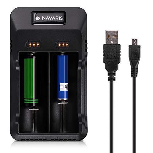 Navaris Cargador de Pilas con indicador de Carga - USB - para Pilas de Litio 10440 14500 16340 17670 18350 18500 18650 26650 y Ni-MH/Ni-CD AA y AAA