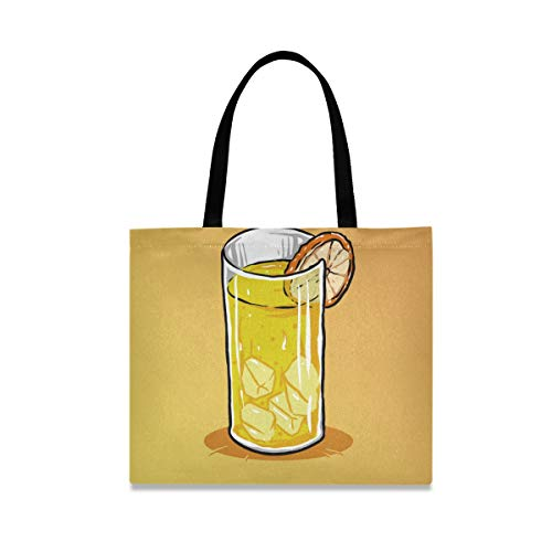 Orange Juice Canvas Tote Bag for Women Large Reusable Grocery Bags with Interior Pocket Shopping Handbag for Gym Beach Travel Outdoor
