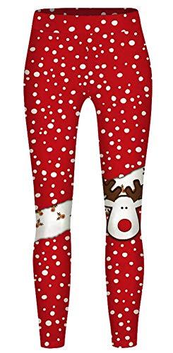 Imbry Kids Christmas Leggings Girls Printed Tights Yoga Pants Reindeer Leggings Stretch Trousers(S(6T),T-2)