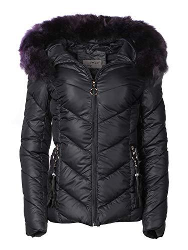 Damen Winter Jacke Parka Mantel Winterjacke Fell Kapuze, Farbe:Schwarz, Größe:XL
