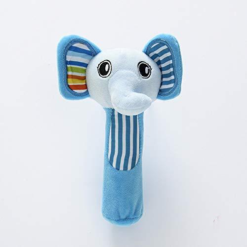 longsheng Elefantenrassel Babyspielzeug Plüschspielzeug Instrumente Sensorisches Spielzeug für 3 6 9 12 Monate (Blau)