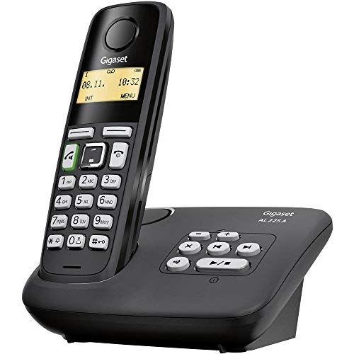 Gigaset AL225A DECT/Gap Schnurloses Telefon analog Anrufbeantworter, Freisprechen Schwarz