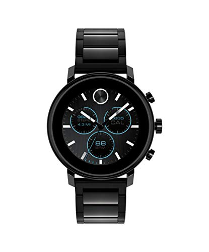 Movado Connect 2.0 Unisex Powered with Wear OS by Google Stainless Steel and Ionic Plated Black Steel Smartwatch, Color: Black (Model: 3660037)