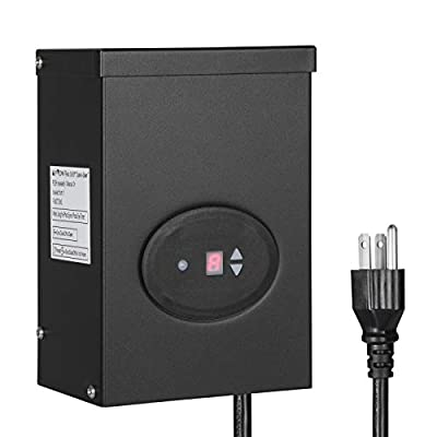 DEWENWILS 300W Outdoor Low Voltage Transformer with Timer and Photocell Sensor, 120V AC to 12V/14V AC, Weatherproof, for Halogen & LED Landscape Lighting, Spotlight, Pathway Light, ETL Listed