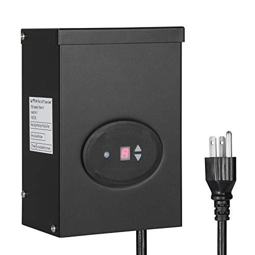DEWENWILS 300W Outdoor Low Voltage Transformer with Timer and Photocell Sensor, 120V AC to 12V/14V AC, Weatherproof, for Halogen & LED Landscape Lighting, Spotlight, Pathway Light, ETL Listed
