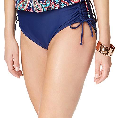 24th & Ocean Women's High Waist Side Tie Hipster Bikini Swimsuit Bottom, Navy, Extra Large
