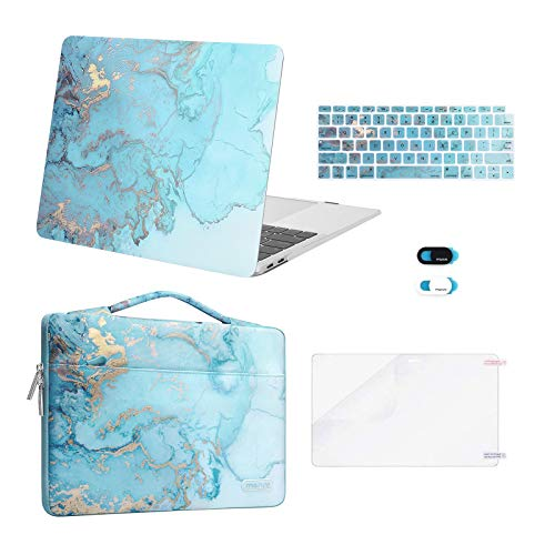 MOSISO Compatible with MacBook Air 13 inch Case 2020 2019 2018 Release A2337 M1 A2179 A1932 Retina,Plastic Watercolor Marble Hard Shell&Sleeve Bag&Keyboard Skin&Webcam Cover&Screen Protector,Turquoise