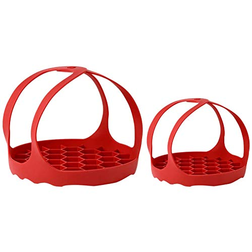2 pezzi pressa fornello a pressione in silicone Bakeware Lifter Uovo Rack Stand con maniglie per pentola istantanea 3/6/8 Qt pressione (rosso)