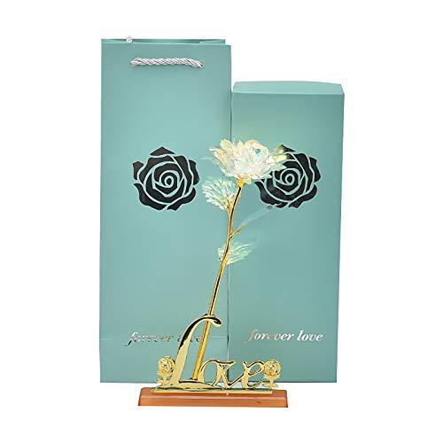 Rosa artificial para siempre infinito, oro de 24 quilates, hecha a mano, regalo de lujo para novias/esposas/madres en el día de San Valentín, aniversario del día de la madre