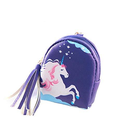 Monederos Unicornio para Niñas Mini Cartera De Cuero Titular De La Clave Zip Monedero Bolsos De Embrague