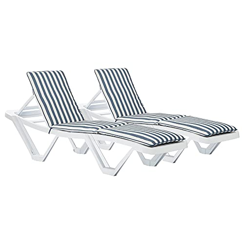 Harbour Housewares Master Sun Lounger Cushions - Padded Outdoor Patio...