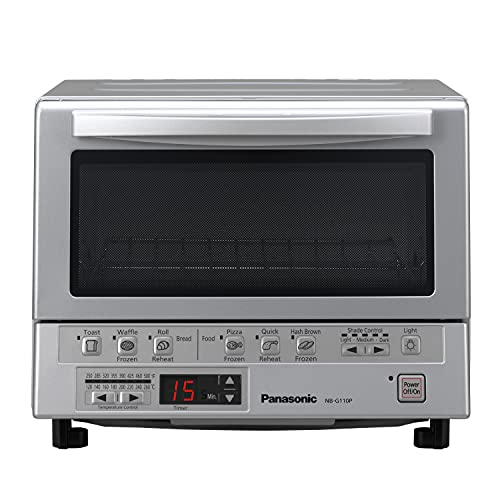 Panasonic FlashXpress Toaster Oven with Double Infrared Heating, 6 Auto Cook Options and Precise Temperature Control, 4-Slice Small Toaster Oven, 1300 Watts - NB-G110P (Silver)