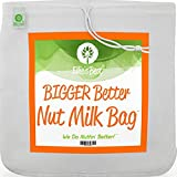 Pro Quality Nut Milk Bag - XL12'X12' Bags - Commercial Grade Reusable All Purpose Food Strainer - Food Grade BPA-Free - Ultra Strong Fine Nylon Mesh - Nutmilk, Juices, Cold Brew - Recipes & Videos… (1)