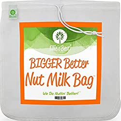 "Pro Quality Nut Milk Bag - Big 12""X12"" Commercial Grade - Reusable Almond Milk Bag & All Purpose Strainer - Fine Mesh Nylon Cheesecloth & Cold Brew Coffee Filter"