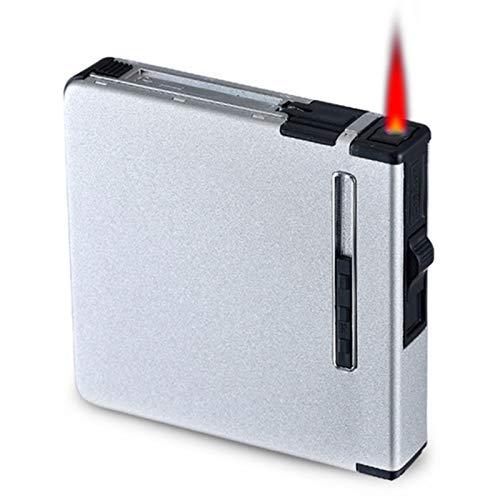 HQPCAHL Zigarettenetui Mit Feuerzeugen Metalltasche Zigarette Zigarre Tabakbox Etui Halter 2 in 1 Elektronische Wiederaufladbare Flammenlose Winddichte Feuerzeuge,E