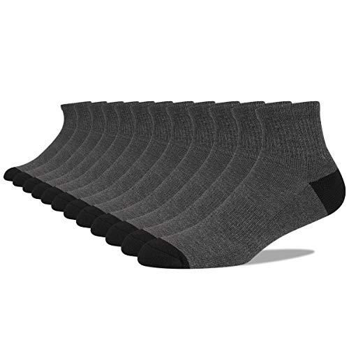 COOVAN 12 Pairs Mens Cushion Ankle Socks Men 12 Pack Low Cut Comfort Breathable Casual Socks